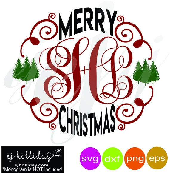 Merry Christmas Monogram Frame Svg Dxf Eps Png Digital Cutting