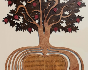 Tree of Love, custom laser cut wood Ketubah