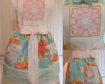 Women full apron aqua orange pink flowered cotton, pink square bodice, trapunto embroidered, vintage cream crochet ruffle, pink cotton ties