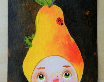 ACEO artist trading card original acrylic painting, original aceo Baby Pear, mini art, cute collectible painting