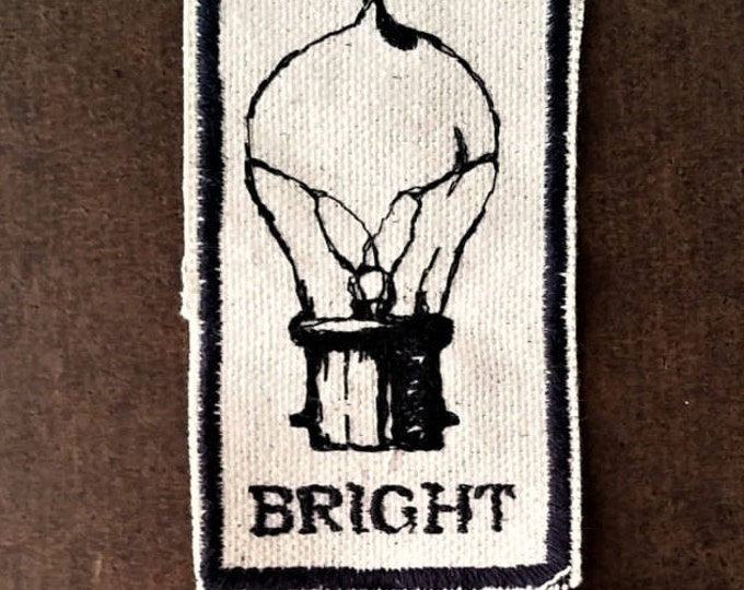 Embroidered Vintage Graphic Upcycled Canvas Bright Iron On Jacket or Hat Patch