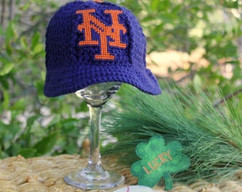 Baby BASEBALL Hat, Kids Ball Cap, New York METS inspired baseball hat (Made by me and not affiliated with the MLB)