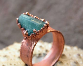 Raw Tourmaline Split Ring Copper Electroformed Raw
