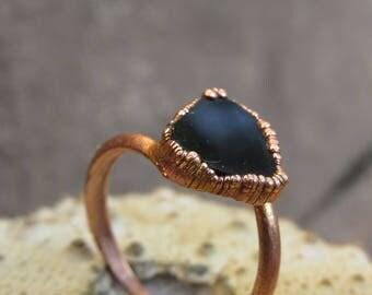 Rough tourmaline ring   Black tourmaline ring   Schorl copper ring   Tourmaline electroformed ring