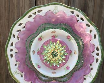 """Plate Flower, Vintage Glass, Garden Decor """"Ring Around Rosie"""""""