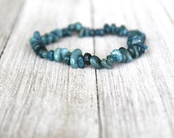 ONE Blue Apatite Stretchy Bracelet, Throat Chakra Healing, Spirituality, Meditation, Yoga Bracelet, Boho Jewelry Gift Ideas, Reiki Healing