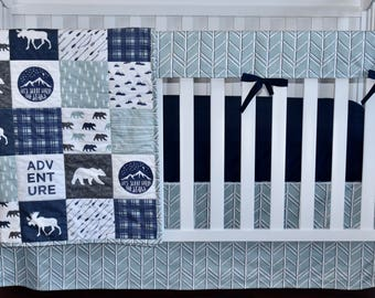 Moose Adventure Crib Bedding, modern nursery, modern quilt, woodland, boy nursery, hunting, indigo, spa blue, charcoal, minky quilt
