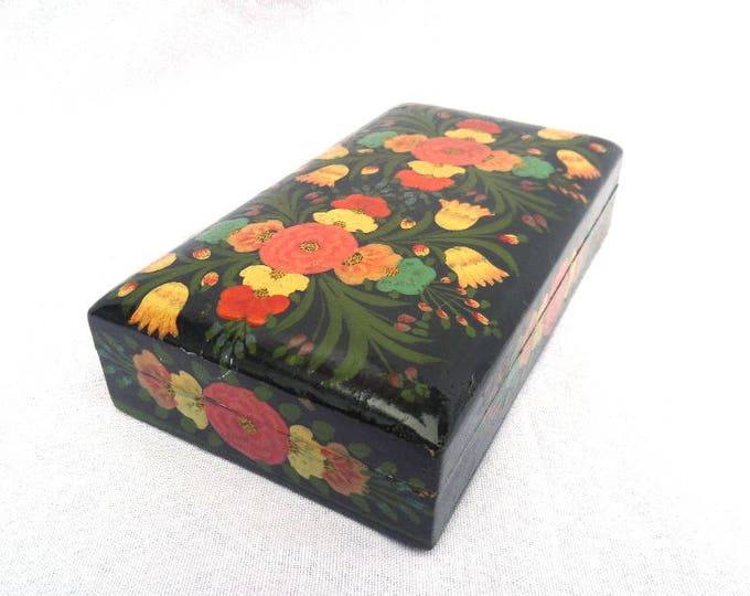 """FREE SHIPPING Lacquered Keepsake Box, Black, Hand Painted Floral Pattern, Imari Style, Ideal Jewellery or Pencil Storage, 7"""" x 4"""" x 1.25"""""""