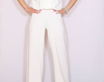 Off white jumpsuit Sleeveless jumpsuit women Wrap top