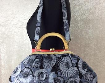 Ammonite Fossil Shell Betty frame bag wooden handle purse handbag handmade in England