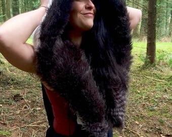reversible large hood/ grey mottled faux fur/ vegan fur, bug fur hood, scoodie/ spirit hood/ warrior hood/ cuddle hood