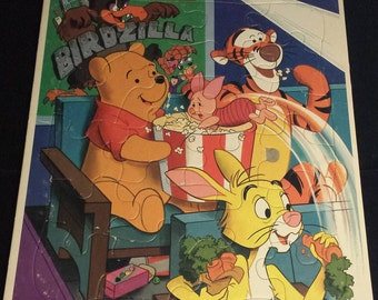 """Vintage 1990's Winnie the Pooh Frame Tray Puzzle, 11.5"""" x 15.5"""""""