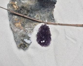 Uruguay Natural Amethyst Druzy Pendant