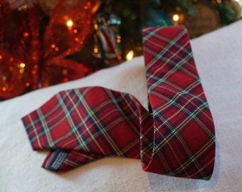 Children's Place Boy's Tie/Royal Stuart Tartan/ Preppy Kids/ Christmas Tie