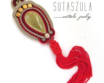 Statement red olive soutache necklace red tassel necklace soutache OOAK necklace boho stone pendant red stone necklace extra long tassel