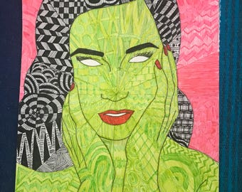 Dita Von Teese Zentangle Drawing