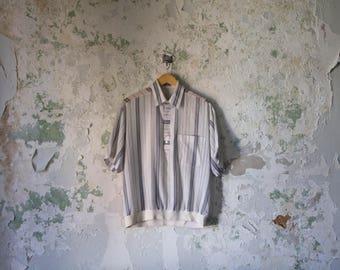 Vintage Linen Shirt 80s 1980s Minimimalist White Blue Striped Top Henley Small Medium