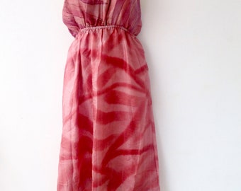 Dress made from Up Cycled Silk Saris from India //Pink Dress // Large Dresses// Summer Dress // Tank Dress