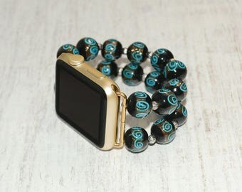 Lampwork Beads apple watch strap // apple watch band 42mm - iwatch strap iwatch band 38mm - lugs adapter accessories - no-clasp stretch fit
