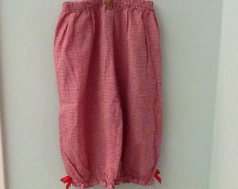 Size 4 Tiny Red and White Checked Pants with Red Bows