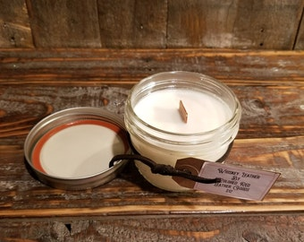 Soy Candle - Hand Poured - Leather Candle - Campfire Candle - Wood Wick - Colorado - Small Batch - Whiskey Candle - Gift For Him - Candles