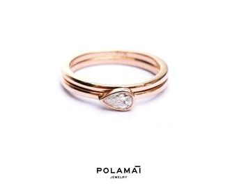 Wedding Band Set . Pear Cut Diamond Ring 14k 18k Gold . 0.20ctw Diamond Solitaire Engagement Ring . Horizontal Bezel Set . Rose Yellow White