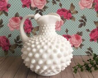 Fenton Hobnail Milk Glass - Hobnail Pitcher - Milk Glass Bud Vase - Milk Glass Cruet - Cottage Chic Decor - Minimalist - Bathroom Decor