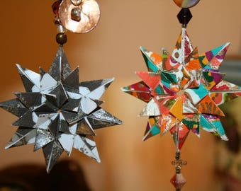 Origami Set of 2 Small Elegant Brown Orange Hanging Ornaments