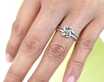Sterling Silver Double Knot Ring, Silver Double Love Knot Ring,