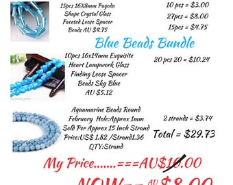 EXCESS STOCK, Blue Glass Bead BUNDLE, for Jewellery making, Variety Sizes and Shapes, Genuine Bargain, Bargains,Detash