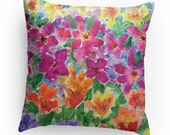 Floral Decorative Pillow, Throw Pillow , Watercolor Garden Design with Pillow Insert, Dorm Room,Bedroom
