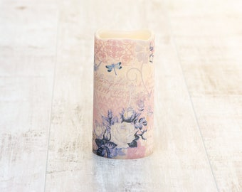 Boho LED Pillar Candle With Lilac Print, Decorative Purple Candle, Boho Home Decor, Butterfly Print Gift For Her