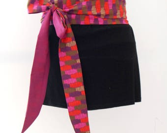 Obi belt fabric geometrical japanese belt
