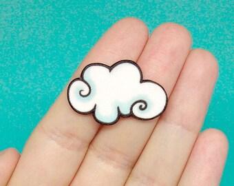 Handmade cloud pin, fluffy cloud brooch, Cute lapel Pin