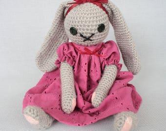 Amigurumi bunny gray rabbit with pink dress - crochet doll bunny girl
