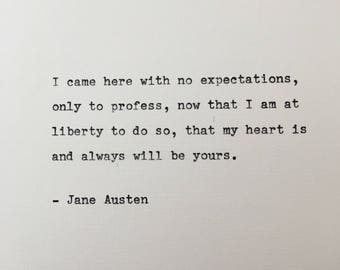Jane Austen love quote hand typed on antique typewriter gift girlfriend boyfriend husband wife wedding present birthday valentines