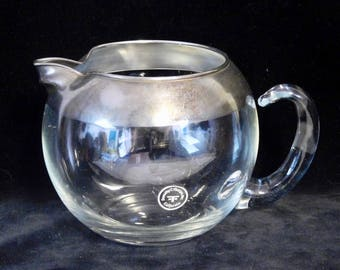 Dorothy Thorpe silver band glass pitcher with original label