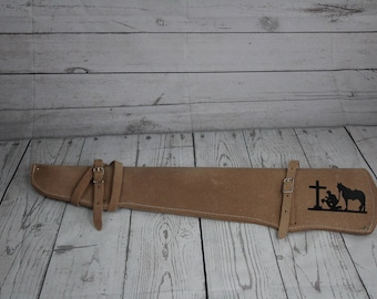 Praying Cowboy Leather Rifle Scabbard//Natural Color Leather Rifle Scabbard//Western Gun Holster//Rifle Scabbard//Hunting