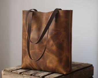 Chestnut brown leather tote, leather bag, leather shopper, leather handbag, shoulder bag