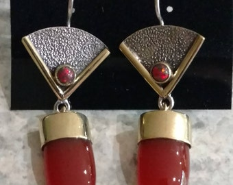 Carnelian and Opal Abstract Earrings