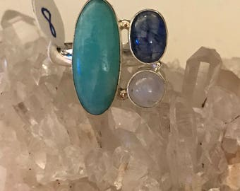 Gorgeous Amazonite, Kyanite, and Moonstone Ring Size 8
