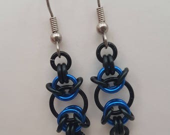 Black and Blue Handmade Chainmaille Earrings