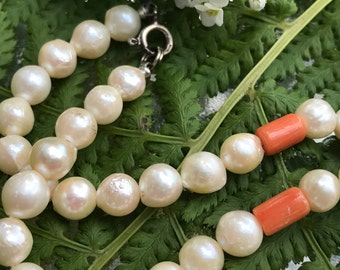 Vintage Cultured Pearl and Coral Necklace 16""