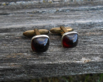 Vintage Red Cufflinks. Gift For Dad, Groom, Groomsmen, Wedding, Anniversary, Birthday, Christmas, Father's Day.