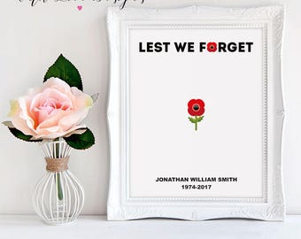 Lest We Forget Poppy Hero Remembrance Day Family Home Personalised Print A5 A4 A3 Gift Present