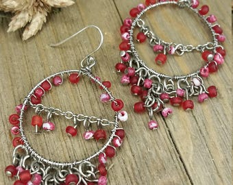 Vintage Pink Beaded Dangle Earrings