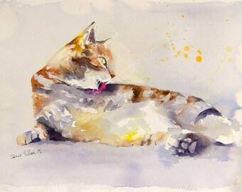 Grooming cat original painting - original watercolor of a grooming cat