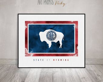 Wyoming state Flag, Art print, Watercolor Poster, Wall art,  United States flag, Office decor, Travel gift, ArtPrintsVicky
