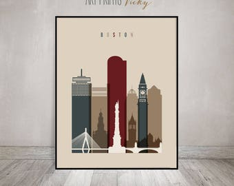 Superbe Boston Wall Art Print, Boston Skyline Poster, Wall Decor, Travel Decor,  Typography