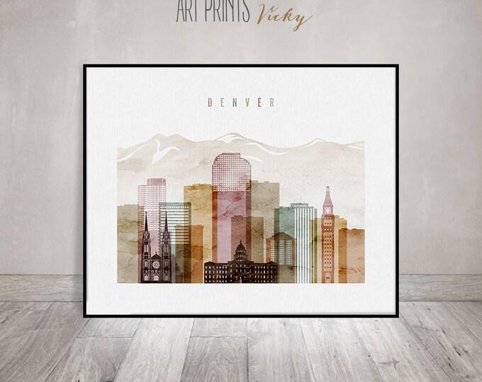 Denver poster, Denver skyline art, Denver watercolor print, Travel decor, Wall art, Gift, Colorado, City art, Home Decor, ArtPrintsVicky